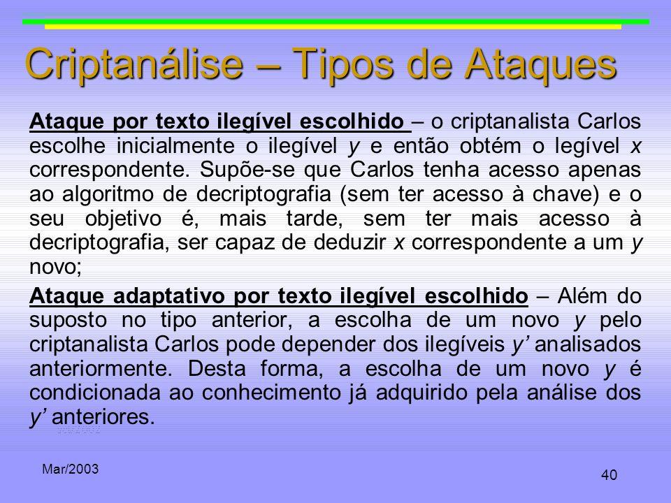 Mar/2003 40 Criptanálise – Tipos de Ataques Ataque por texto ilegível escolhido – o criptanalista Carlos escolhe inicialmente o ilegível y e então obt