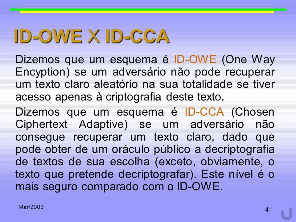 Mar/2003 41 ID-OWE X ID-CCA Dizemos que um esquema é ID-OWE (One Way Encyption) se um adversário não pode recuperar um texto claro aleatório na sua to