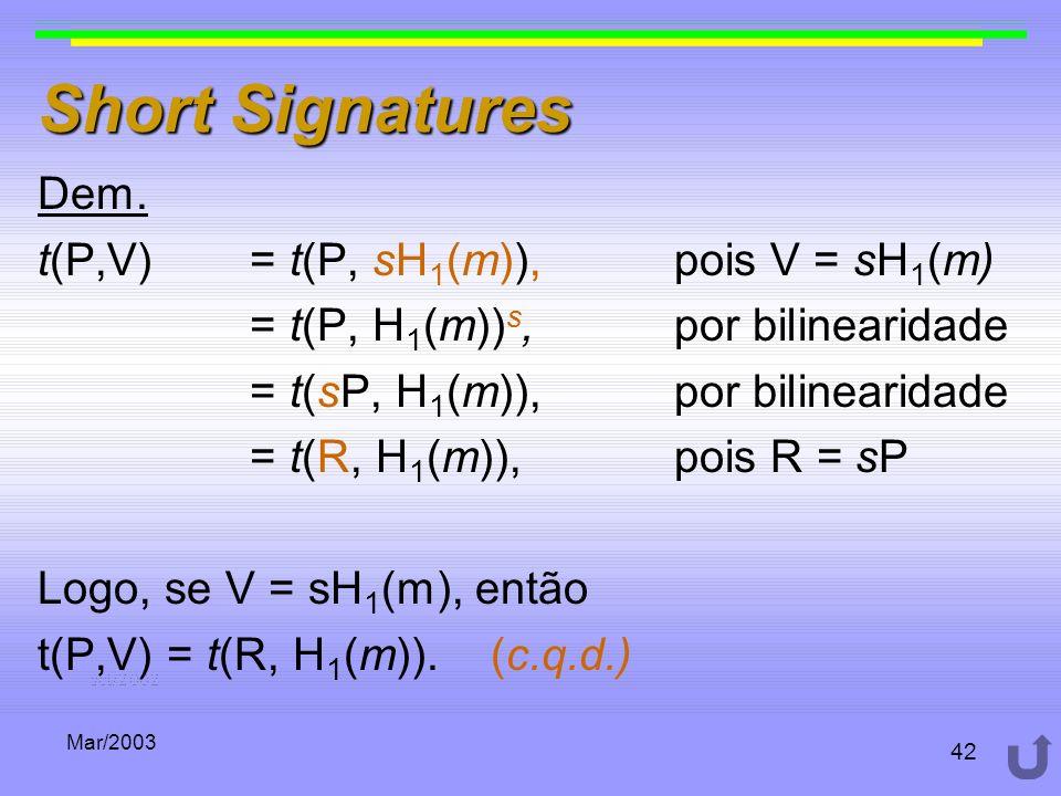 Mar/2003 42 Short Signatures Dem. t(P,V) = t(P, sH 1 (m)), pois V = sH 1 (m) = t(P, H 1 (m)) s, por bilinearidade = t(sP, H 1 (m)), por bilinearidade