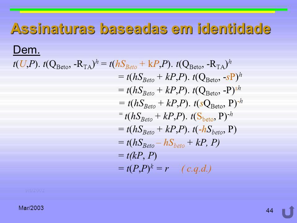 Mar/2003 44 Assinaturas baseadas em identidade Dem. t(U,P). t(Q Beto, -R TA ) h = t(hS Beto + kP,P). t(Q Beto, -R TA ) h = t(hS Beto + kP,P). t(Q Beto