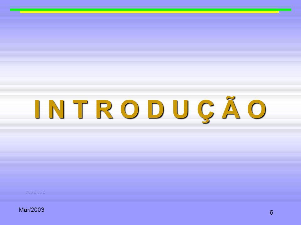 Mar/2003 37 Bilinearidade Se uma função tem a propriedade de ser bilinear, podemos mover livremente expoentes e multiplicadores, ou seja: t (aP, bQ) c = t (bP, cQ) a = t (bP, aQ) c = t (cP, aQ) b = t (cP, bQ) a = t (abP, Q) c = t (abP, cQ) = t (P, abQ) c = t (cP, abQ) =...