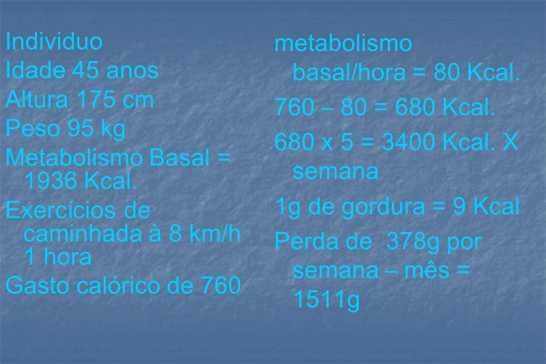 Individuo Idade 45 anos Altura 175 cm Peso 95 kg Metabolismo Basal = 1936 Kcal. Exercícios de caminhada à 8 km/h 1 hora Gasto calórico de 760 metaboli