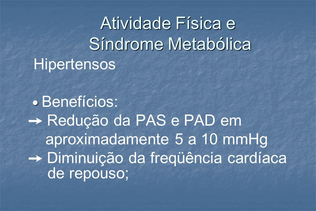 Atividade Física e Síndrome Metabólica Atividade Física e Síndrome Metabólica Hipertensos Benefícios: Redução da PAS e PAD em aproximadamente 5 a 10 m