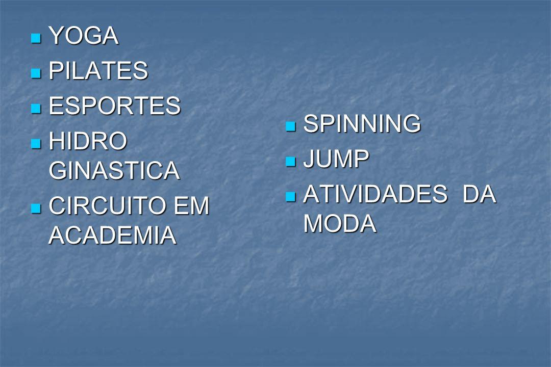 YOGA YOGA PILATES PILATES ESPORTES ESPORTES HIDRO GINASTICA HIDRO GINASTICA CIRCUITO EM ACADEMIA CIRCUITO EM ACADEMIA SPINNING SPINNING JUMP JUMP ATIV