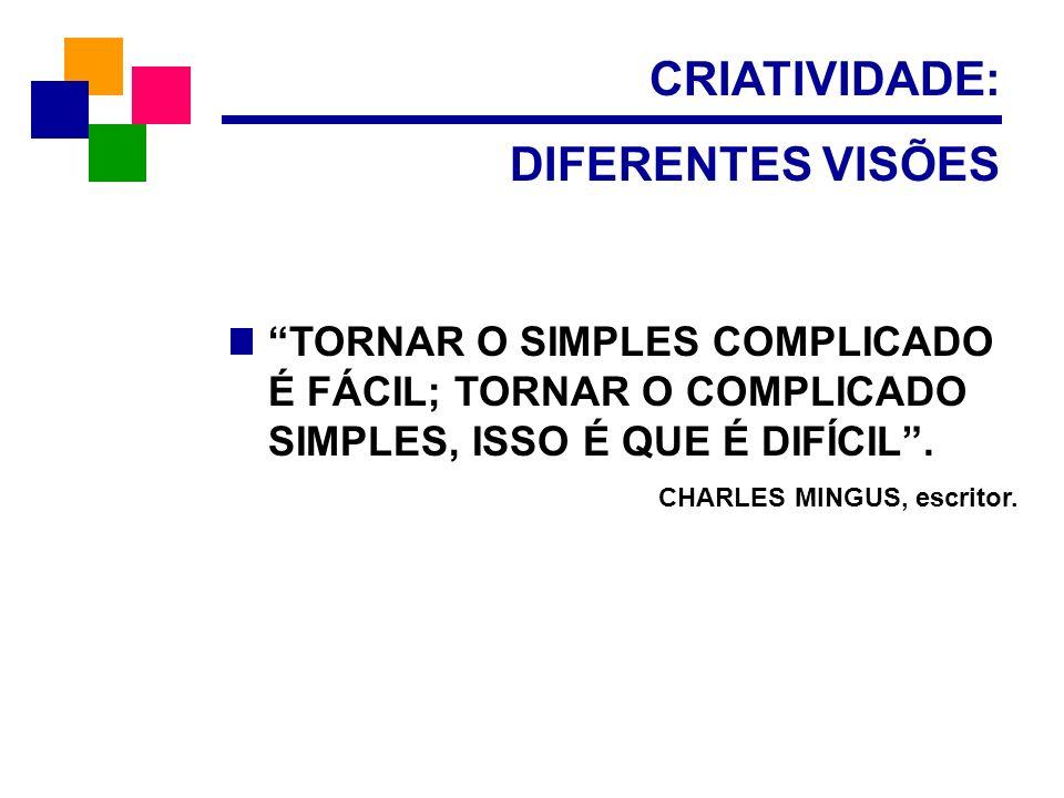 CRIATIVIDADE: DIFERENTES VISÕES TORNAR O SIMPLES COMPLICADO É FÁCIL; TORNAR O COMPLICADO SIMPLES, ISSO É QUE É DIFÍCIL. CHARLES MINGUS, escritor.