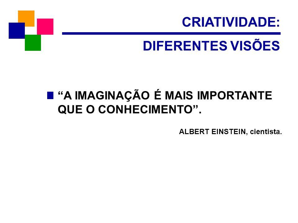 CRIATIVIDADE: DIFERENTES VISÕES A IMAGINAÇÃO É MAIS IMPORTANTE QUE O CONHECIMENTO. ALBERT EINSTEIN, cientista.