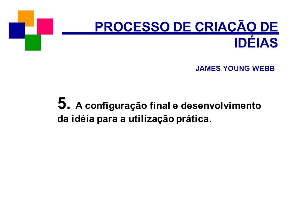 PROCESSO DE CRIAÇÃO DE IDÉIAS JAMES YOUNG WEBB 5. A configuração final e desenvolvimento da idéia para a utilização prática.