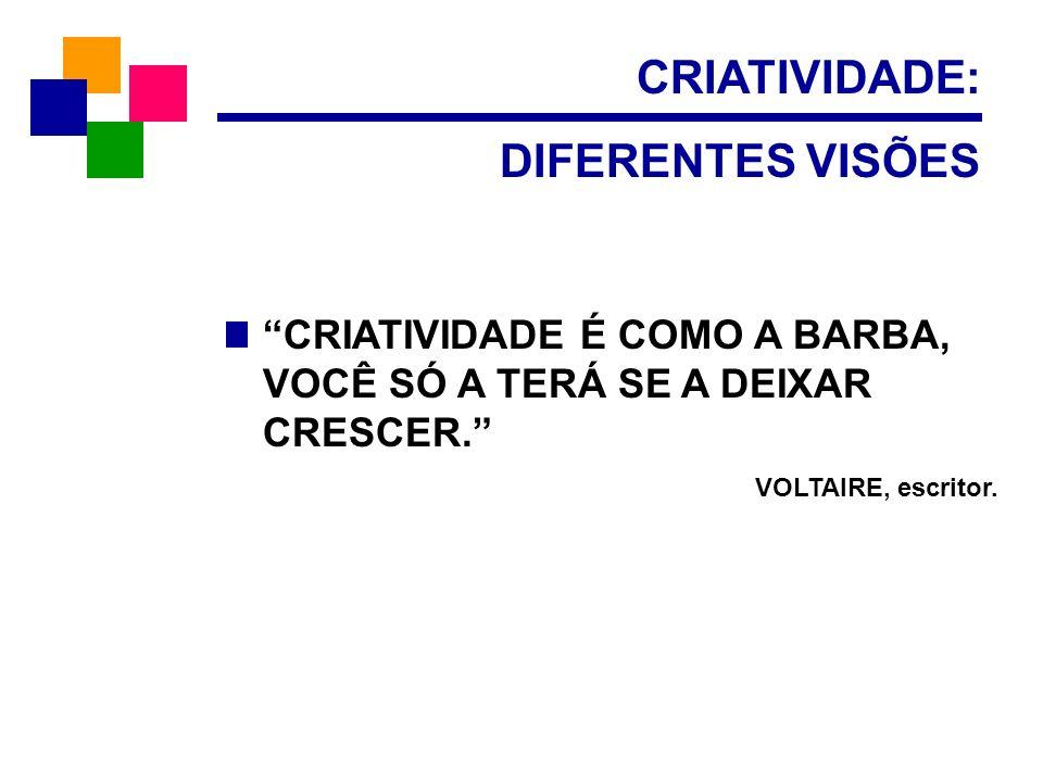 CRIATIVIDADE: DIFERENTES VISÕES CRIATIVIDADE É COMO A BARBA, VOCÊ SÓ A TERÁ SE A DEIXAR CRESCER. VOLTAIRE, escritor.