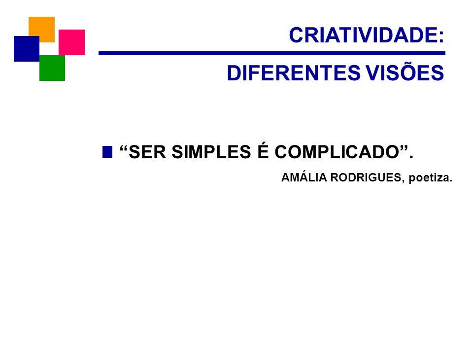 CRIATIVIDADE: DIFERENTES VISÕES SER SIMPLES É COMPLICADO. AMÁLIA RODRIGUES, poetiza.