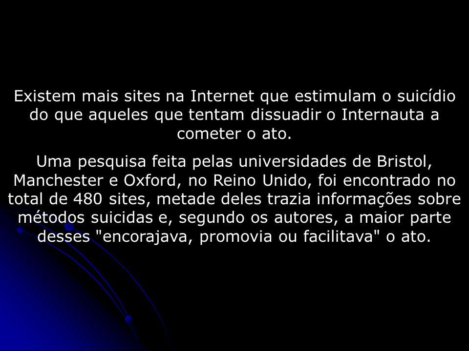Existem mais sites na Internet que estimulam o suicídio do que aqueles que tentam dissuadir o Internauta a cometer o ato. Uma pesquisa feita pelas uni