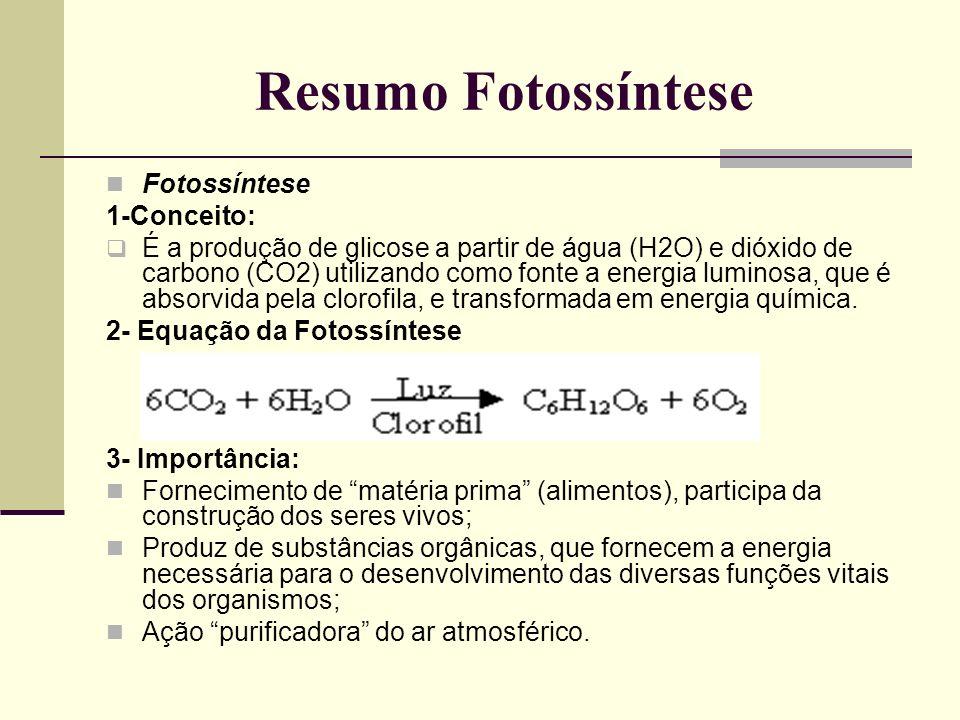Resumo Fotossíntese Fotossíntese 1-Conceito: É a produção de glicose a partir de água (H2O) e dióxido de carbono (CO2) utilizando como fonte a energia