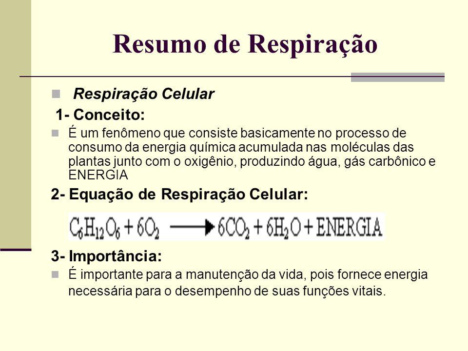 Resumo de Respiração Respiração Celular 1- Conceito: É um fenômeno que consiste basicamente no processo de consumo da energia química acumulada nas mo