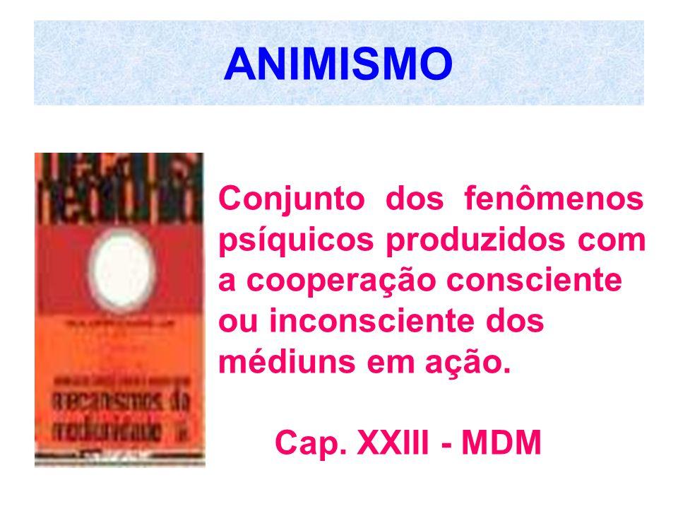 ANIMISMO Conjunto dos fenômenos psíquicos produzidos com a cooperação consciente ou inconsciente dos médiuns em ação.