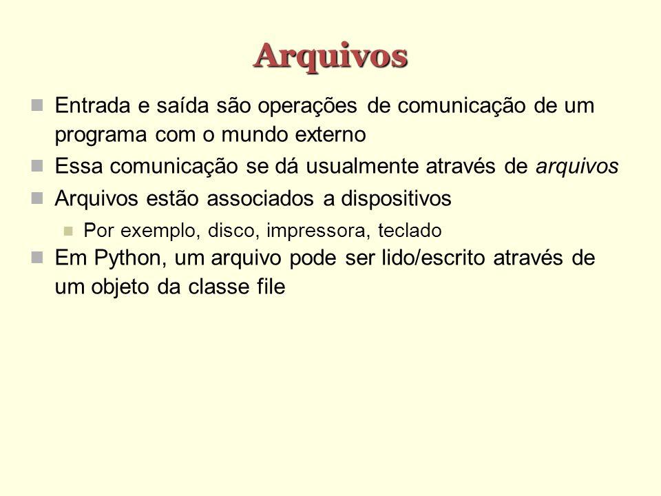 Arquivos Entrada e saída são operações de comunicação de um programa com o mundo externo Essa comunicação se dá usualmente através de arquivos Arquivo