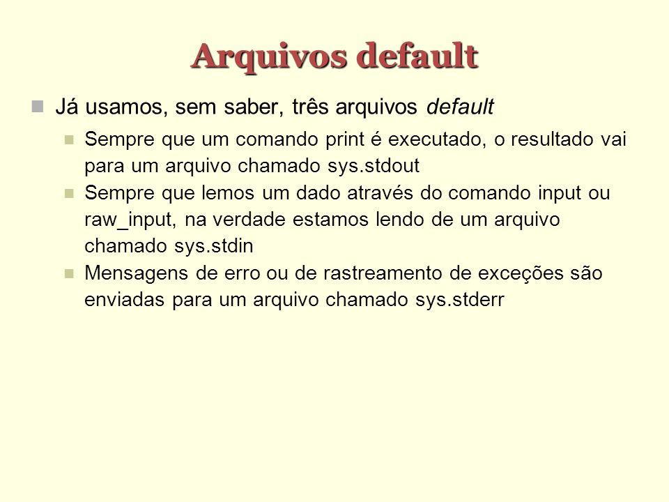 Arquivos default Já usamos, sem saber, três arquivos default Sempre que um comando print é executado, o resultado vai para um arquivo chamado sys.stdo