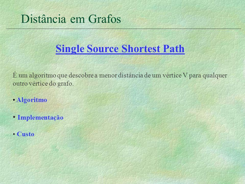 Distância em Grafos Single Source Shortest Path É um algoritmo que descobre a menor distância de um vértice V para qualquer outro vértice do grafo. Al