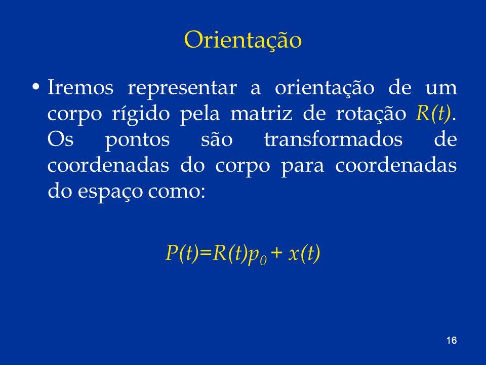 16 Orientação Iremos representar a orientação de um corpo rígido pela matriz de rotação R(t). Os pontos são transformados de coordenadas do corpo para