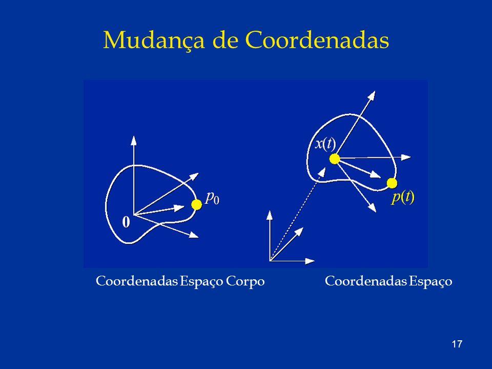 17 Mudança de Coordenadas Coordenadas Espaço CorpoCoordenadas Espaço