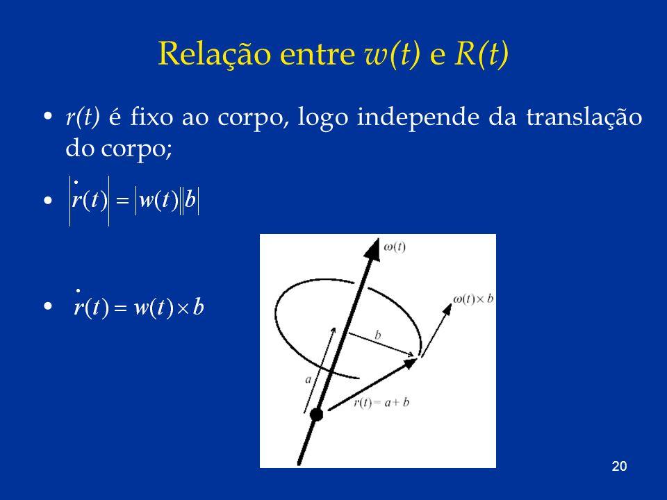 20 Relação entre w(t) e R(t) r(t) é fixo ao corpo, logo independe da translação do corpo;