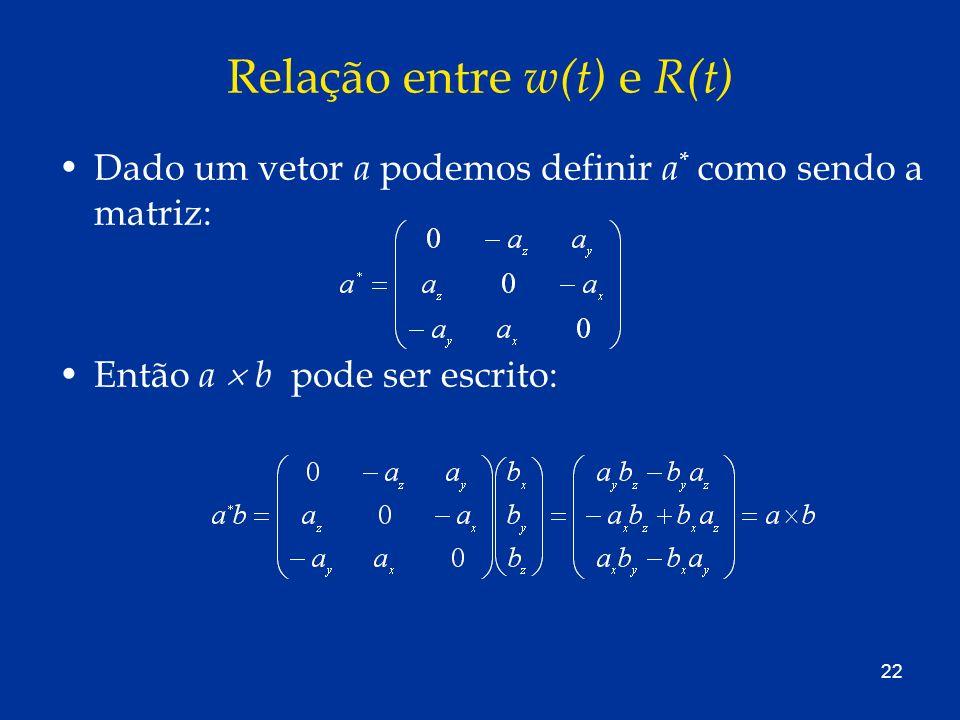 22 Relação entre w(t) e R(t) Dado um vetor a podemos definir a * como sendo a matriz: Então a b pode ser escrito: