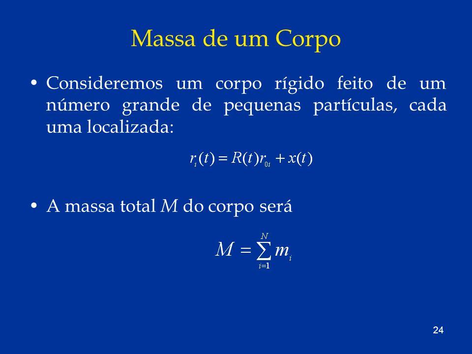 24 Massa de um Corpo Consideremos um corpo rígido feito de um número grande de pequenas partículas, cada uma localizada: A massa total M do corpo será