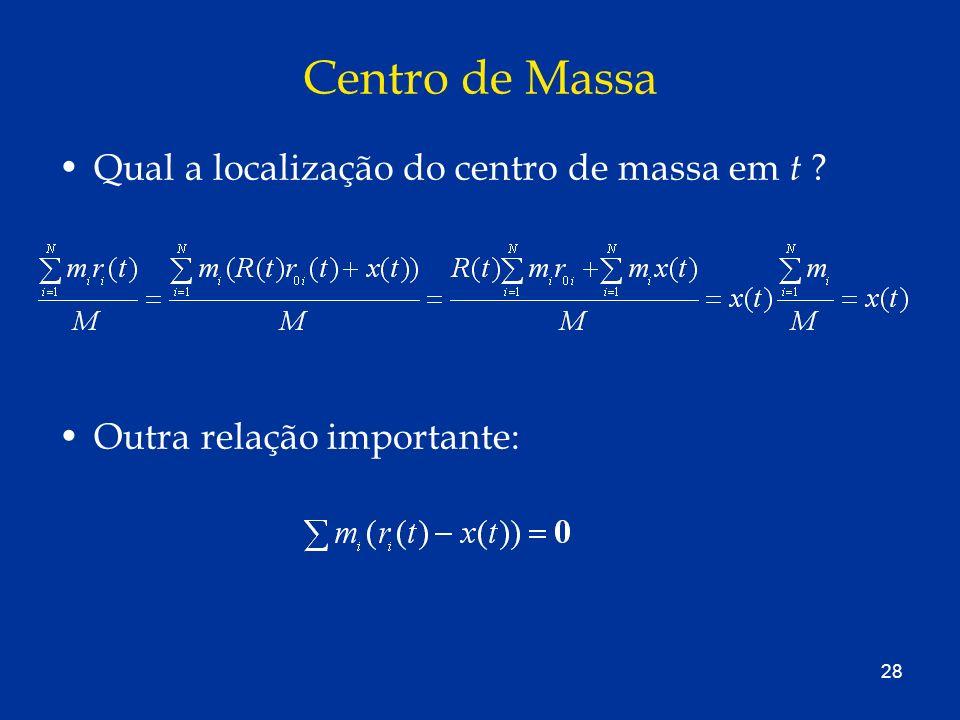 28 Centro de Massa Qual a localização do centro de massa em t ? Outra relação importante: