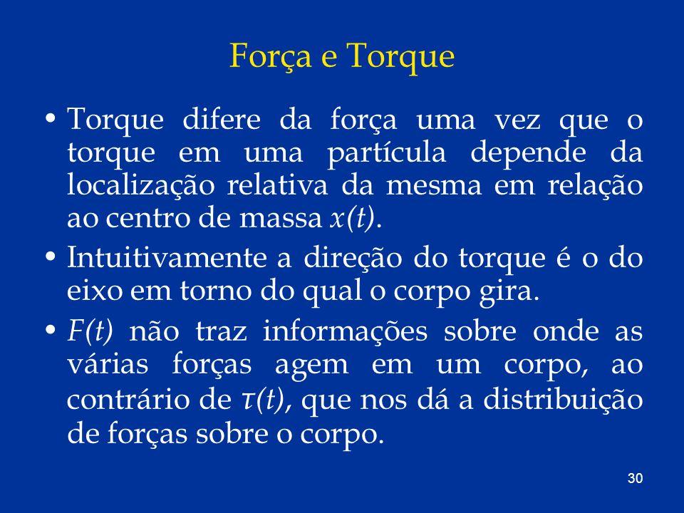 30 Força e Torque Torque difere da força uma vez que o torque em uma partícula depende da localização relativa da mesma em relação ao centro de massa