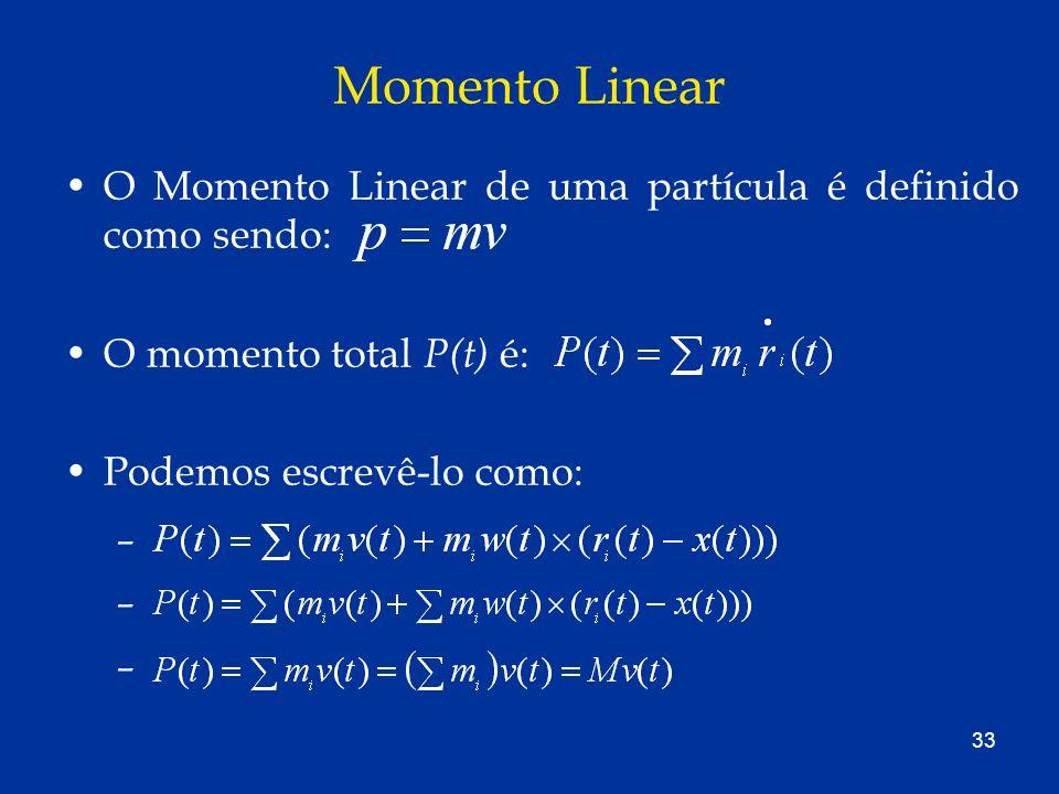 33 Momento Linear O Momento Linear de uma partícula é definido como sendo: O momento total P(t) é: Podemos escrevê-lo como: –