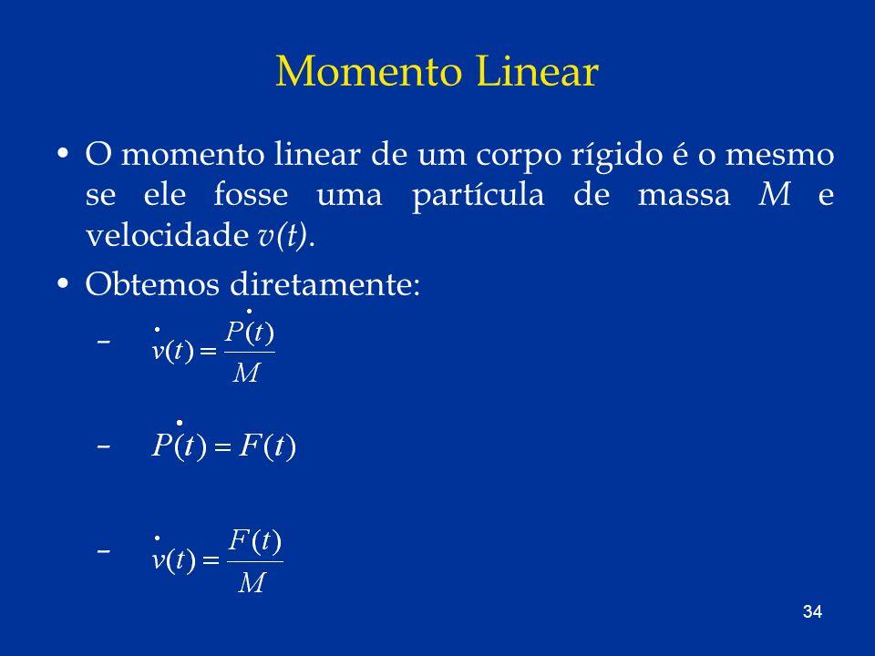 34 Momento Linear O momento linear de um corpo rígido é o mesmo se ele fosse uma partícula de massa M e velocidade v(t). Obtemos diretamente: – – –