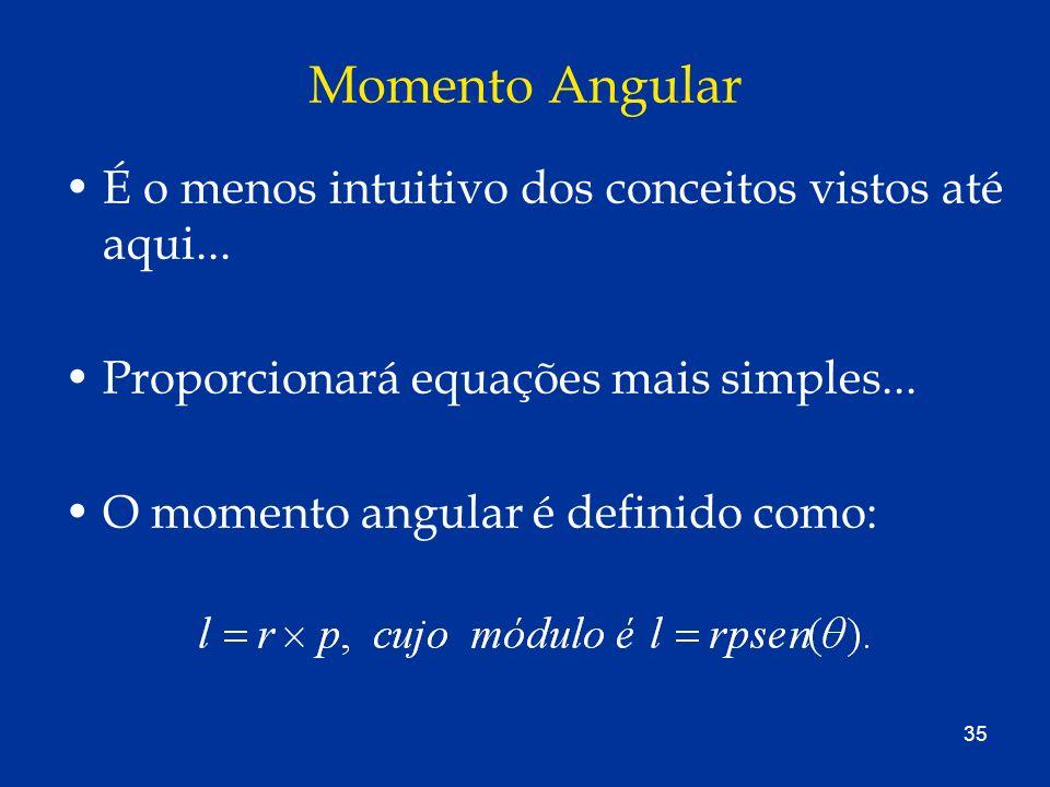 35 Momento Angular É o menos intuitivo dos conceitos vistos até aqui... Proporcionará equações mais simples... O momento angular é definido como: