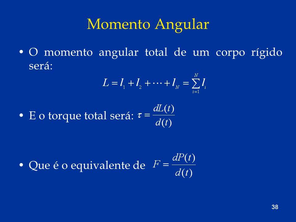 38 Momento Angular O momento angular total de um corpo rígido será: E o torque total será: Que é o equivalente de
