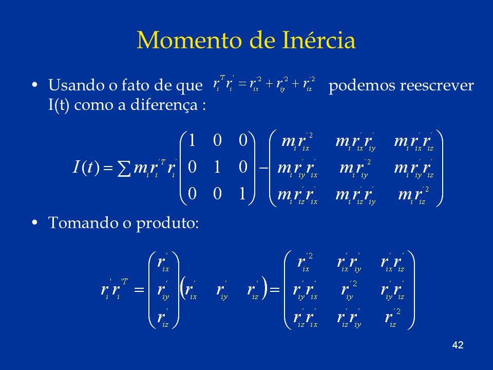 42 Momento de Inércia Usando o fato de que podemos reescrever I(t) como a diferença : Tomando o produto: