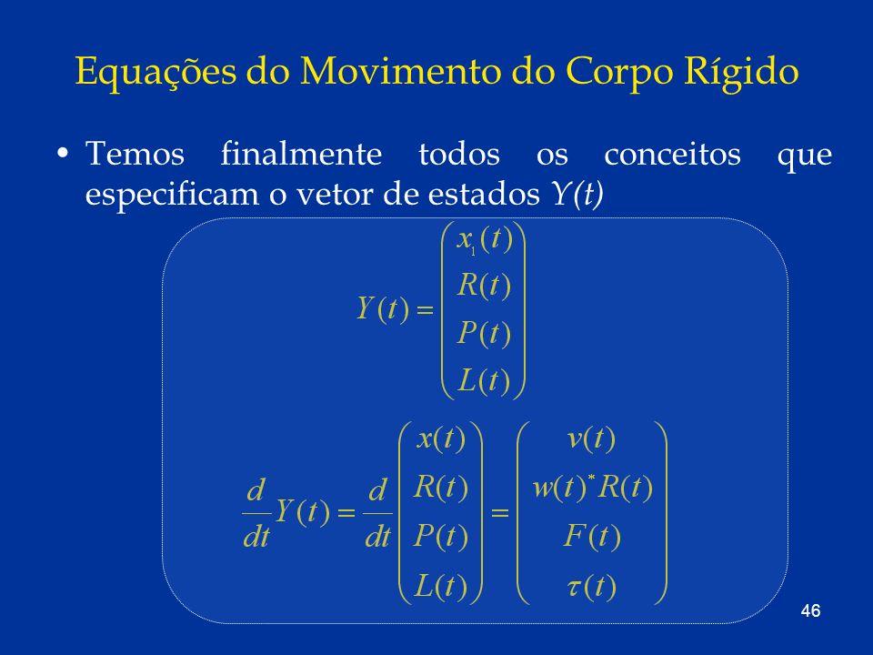 46 Equações do Movimento do Corpo Rígido Temos finalmente todos os conceitos que especificam o vetor de estados Y(t)