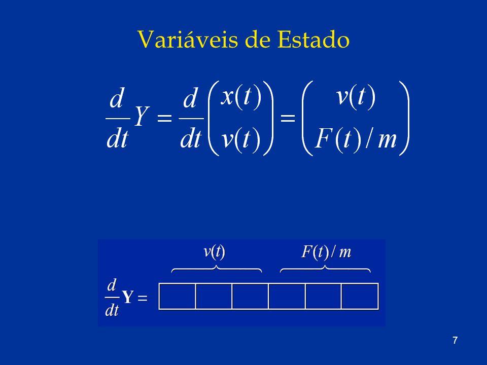 48 Estrutura de um Corpo Rígido struct RigidBody { /* Constant quantities */ double mass; /* mass M */ matrix Ibody, /* Ibody */ Ibodyinv; /* I -1 body (inverse of Ibody ) */ /* State variables */ triple x; /* x(t) */ matrix R; /* R(t) */ triple P, /* P(t) */ L; /* L(t) */ /* Derived quantities (auxiliary variables) */ matrix Iinv; /* I -1 (t) */ triple v, /* v(t) */ omega; /* w(t) */ /* Computed quantities */ triple force, /* F(t) */ torque; /* τ ( t) */ }; /*and assume a global array of bodies */ RigidBody Bodies[NBODIES];