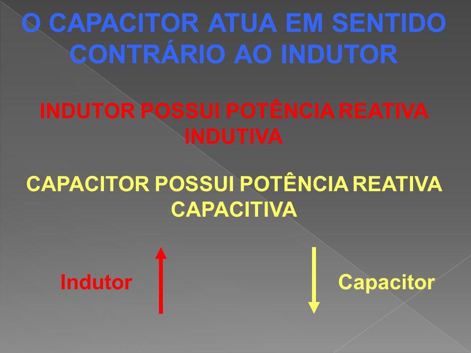 O CAPACITOR ATUA EM SENTIDO CONTRÁRIO AO INDUTOR INDUTOR POSSUI POTÊNCIA REATIVA INDUTIVA CAPACITOR POSSUI POTÊNCIA REATIVA CAPACITIVA IndutorCapacito