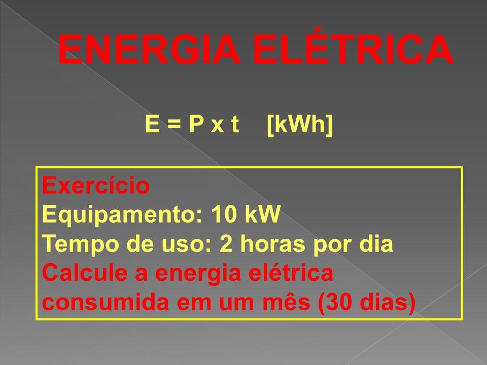 ENERGIA ELÉTRICA E = P x t [kWh] Exercício Equipamento: 10 kW Tempo de uso: 2 horas por dia Calcule a energia elétrica consumida em um mês (30 dias)