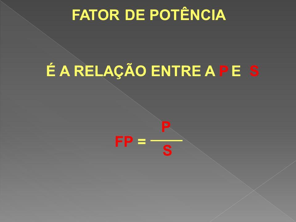 FATOR DE POTÊNCIA É A RELAÇÃO ENTRE A P E S FP = P S