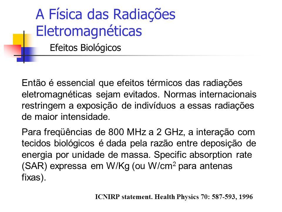 A Física das Radiações Eletromagnéticas Efeitos Biológicos Então é essencial que efeitos térmicos das radiações eletromagnéticas sejam evitados. Norma