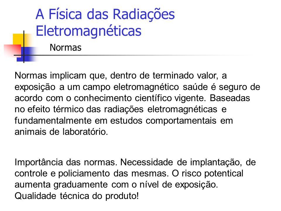 A Física das Radiações Eletromagnéticas Normas Normas implicam que, dentro de terminado valor, a exposição a um campo eletromagnético saúde é seguro d