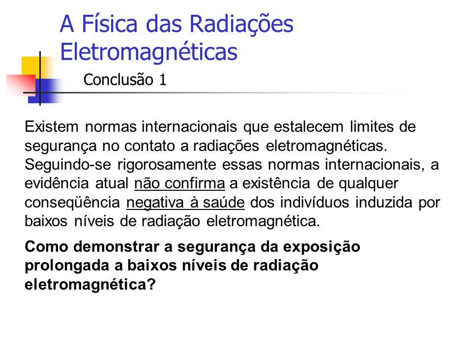 A Física das Radiações Eletromagnéticas Conclusão 1 Existem normas internacionais que estalecem limites de segurança no contato a radiações eletromagn