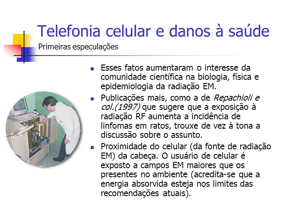 Telefonia celular e danos à saúde Esses fatos aumentaram o interesse da comunidade científica na biologia, física e epidemiologia da radiação EM. Publ