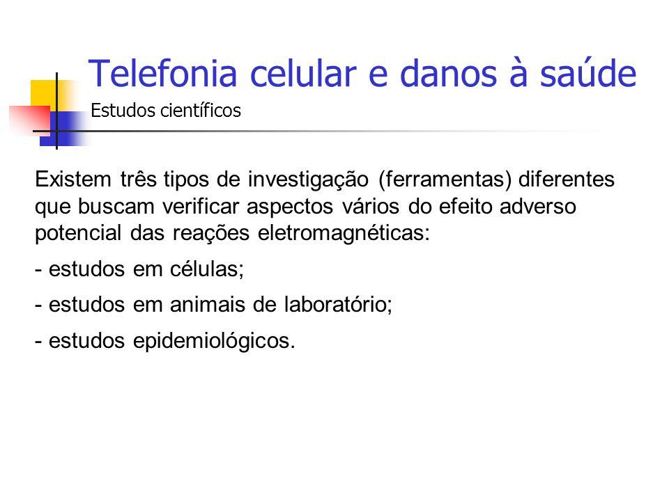 Telefonia celular e danos à saúde Estudos científicos Existem três tipos de investigação (ferramentas) diferentes que buscam verificar aspectos vários