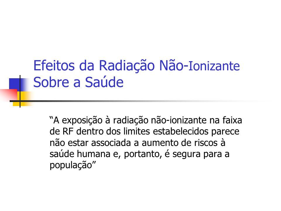 Efeitos da Radiação Não- Ionizante Sobre a Saúde A exposição à radiação não-ionizante na faixa de RF dentro dos limites estabelecidos parece não estar