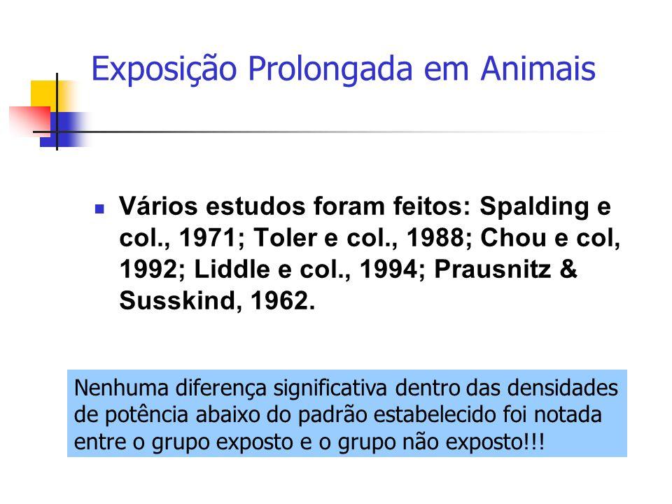 Vários estudos foram feitos: Spalding e col., 1971; Toler e col., 1988; Chou e col, 1992; Liddle e col., 1994; Prausnitz & Susskind, 1962. Exposição P