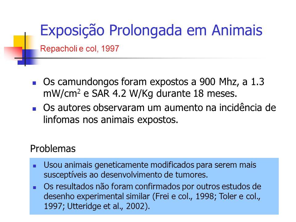 Os camundongos foram expostos a 900 Mhz, a 1.3 mW/cm 2 e SAR 4.2 W/Kg durante 18 meses. Os autores observaram um aumento na incidência de linfomas nos