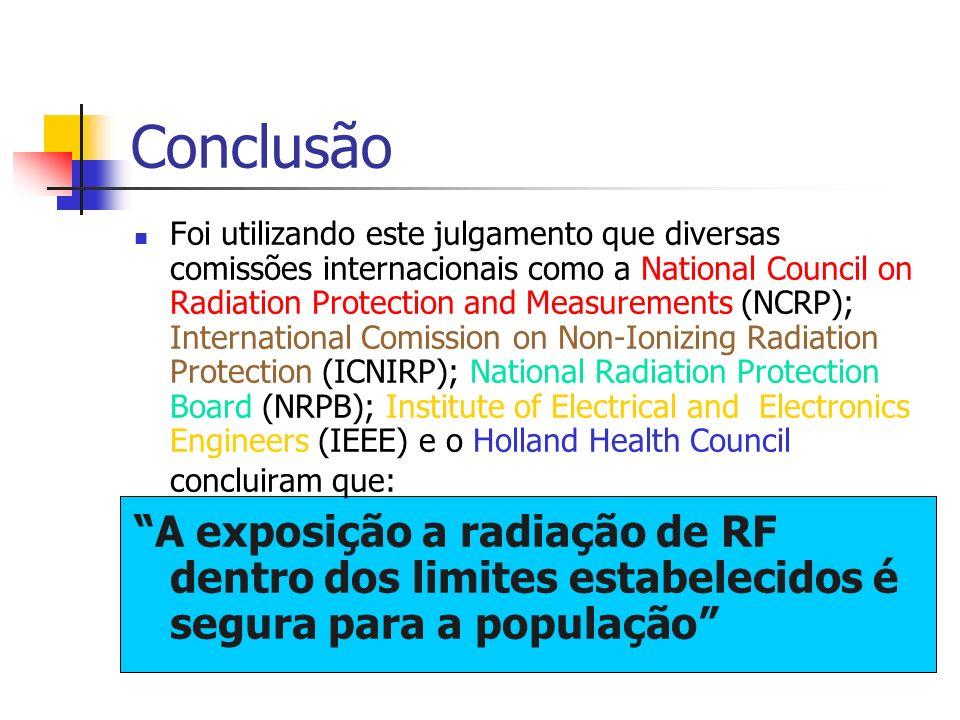 Conclusão Foi utilizando este julgamento que diversas comissões internacionais como a National Council on Radiation Protection and Measurements (NCRP)