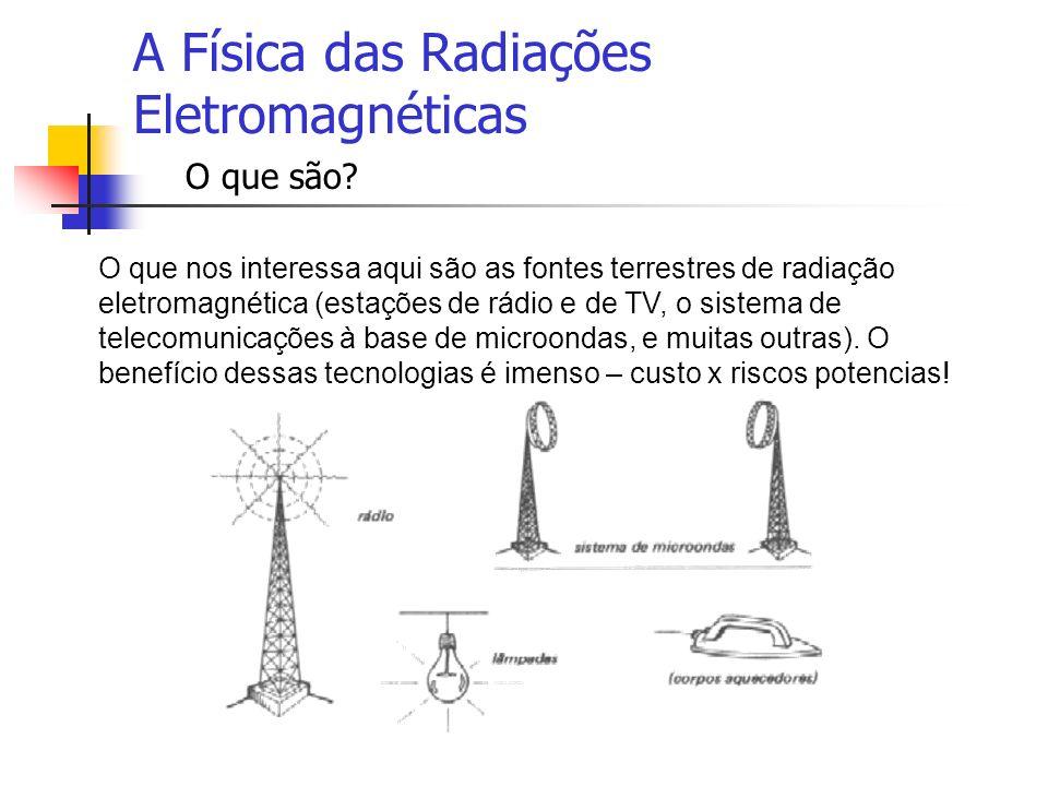 A Física das Radiações Eletromagnéticas O que são? O que nos interessa aqui são as fontes terrestres de radiação eletromagnética (estações de rádio e