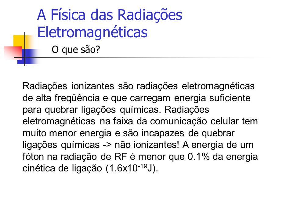 A Física das Radiações Eletromagnéticas O que são? Radiações ionizantes são radiações eletromagnéticas de alta freqüência e que carregam energia sufic