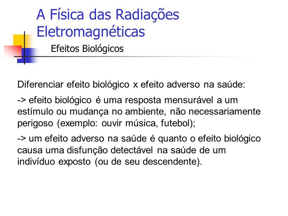 A Física das Radiações Eletromagnéticas Efeitos Biológicos Não há dúvidas que campos eletromagnéticos de alta intensidade por curto tempo são capazes de induzir efeito biológicos adversos.