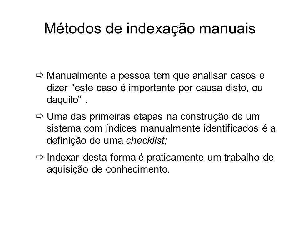 Métodos de indexação manuais Manualmente a pessoa tem que analisar casos e dizer